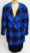 From a Palm Beach Socialite, an Escada 2 Piece Wool Suit. Includes a Plaid Jacket and Black Skirt. Labeled: Escada By Margaretha Ley Made in West Germany. Size 40 (8 US). Skirt Length 24 Inches. Good Condition. Shipping $65.00