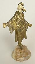 Georges Omerth, French Gilt Bronze and Ivory Sculpture on Onyx Base