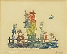 Guillermo Silva, Colombian (1921) Hand Colored Etching