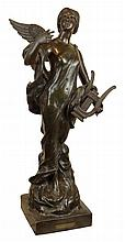 Large Cast Bronze Figure of Angel With Harp. Signed Capagane and Titled