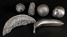 Lot of Six (6) English Silver Covered Fruit and Vegetables. All are FILLED and Marked With Birmingham Hallmarks Dating them 1995-1996. Maker John Bull LTD. Good Condition. Various Sizes ranging from 6-1/2 Inches Long to 3 Inches. Gross Weight 48.68