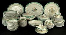 One Hundred Five (105) Piece Royal Doulton China Dinnerware Service in the Kingswood Pattern. This Large Set Includes: 12 Plates, 10-1/2 Inches; 13 Salad Plates, 8-3/4 Inches; 12 Soup Bowl, 8-1/2 Inches; 12 Bread Plates, 6-1/2 Inches; 12 Cereal