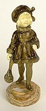 Georges Omerth, French Gilt Bronze and Ivory Sculpture of a Girl on Onyx Base Signed Omerth, Stamped 2064. Gold/Light Brown Patina, Good Condition. Measures 7 Inches Tall. This item will only be shipped domestically and was legally imported into the