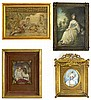 Lot of Four (4) Miniature Portraits. The Group Consists of : after Gainsborough, Framed Portrait of a Girl, Signed, Hairline Crack on Left Side, Measures 5-1/2 Inches by 4 Inches; Framed Portrait of a Lady with Hat Painted on Paper, Signed Lagourde,
