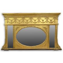 19th Century Carved and Gilt Gesso Over-Mantle Mirror. English or American Made. Unsigned. Surface Wear Consistent with Age, Overall Good Condition. Measures 34 Inches Tall, 56-1/2 Inches Wide at the Base and 51-1/2 Inches Width at the Top of the Mirror. We Will Not Ship This Item In-House Because in our Opinion it Needs to be Professionally Crated. We Would be Happy to Recommend a List of Gallery Approved Vendors on Request.