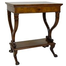 18/19th C French Inlaid Mahogany Sewing Table. The compartmental interior supported on two Lyre midsupports above paw feet. Unsigned. Minor losses, age split on top, wear and rubbing, lock has been removed but included. Measures 30
