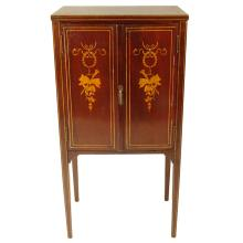 Circa 1910 Edwardian Inlaid Mahogany Two Door Sheet Music Cabinet With Fitted Interior. Unsigned. Rubbing and minor losses to inlay otherwise good antique condition. Measures 40-1/2