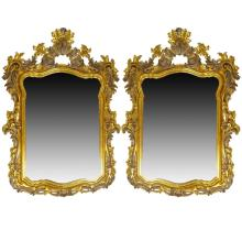 Pair Mid 20th Century Italian Carved and Giltwood Mirrors. Beveled Glass. Signed Made In Italy. Good condition. Measure 55