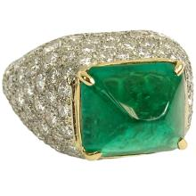 Very Fine Quality GIA Certified 5.87 Carat Sugarloaf Cabochon Colombian Emerald, 8.0 Carat Round Cut Diamond, Platinum and 18 Karat Yellow Gold Ring. Emerald with vivid saturation of color. Diamonds D-E color, VVS-VS clarity. Very good condition. Ring size (with sizer) 4. Approx. weight: 12.90 grams. GIA Report 6173043304. Shipping $26.00