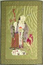 Early to Mid 20th Century Chinese Embroidery on Silk. Unsigned. Slight Fading otherwise Good Condition. Measures 33-1/2