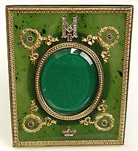 Very Fine Russian Faberge-style Silver Gilt Mounted Nephrite Jade Easel Back Picture Frame Bearing the Imperial Monogram and the Imperial Crown of Tsar Nicholas II of Russia in Silver and Small Rose Cut Diamonds and with Silver Gilt Laurel Wreaths