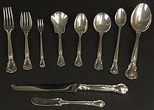 Partial Set of Vintage Gorham Sterling Silver Flatware in the Chantilly Pattern. A Great Starter Set or add to your existing Set. This Set of 54 Includes: 6 Forks, 7-1/2 Inches; 6 Salad Forks, 6-1/2 Inches; 6 Cocktail Forks, 5-1/2 Inches; 5 Flat