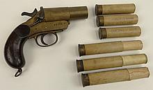WWl British Cogswell and Harrison Flare Pistol. In Wood Box With Flares. Two-piece wooden grips, the brass frame marked on left side,