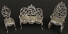 Antique German Sterling Silver Three (3) Piece Miniature Rococo Furniture Set. All Pieces Marked with German 925 Hallmark as well as Original Pat Minisilver Manufacturer. Shipping $25.00