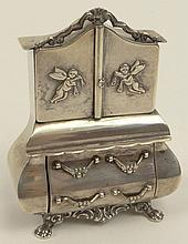 Antique Dutch Silver Miniature in the Form of a Fancy Secretary/Chest. Drawers and Top Open. Signed on Bottom With Lion Passant and Minerva Dutch Hallmarks. Good Condition. Measures 3-1/2 Inches Tall. Shipping $25.00