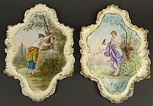 Pair of 19th Century Limoges Hand Painted Plaques. Each Featuring Young Maidens. Artist signed Coulard and Dated '97. Stamped on back CFH/GDM/FRANCE. Minor Wear and Rubbing or in otherwise Good Condition. Measures 12 Inches by 8 Inches. Shipping