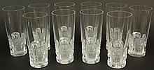 Set of Ten (10) Lalique France Frosted and Clear Crystal