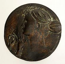Emilio Greco, Italian (1913-1995) Bronze Relief Plaque of a Female with Flowers. Signed Greco Lower Right. Some Surface Wear Consistent with Age Otherwise in Very Good Condition. Measures 10-1/2 Inches Diameter. Shipping $78.00