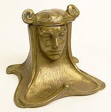 Circa 1900 Art Nouveau Gilt Bronze Inkwell in the Form of a Maiden. Loose Hinge Otherwise in Good Condition. Measures 4-1/4 Inches Tall by 5-1/2 Inches Across and 5 Inches Wide. Shipping $45.00