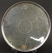 1784 George III London, England Sterling Silver Footed Salver Made by John Crouch and Thomas Hannam. Salver with Engraved Dedication Center. Hallmarks Read Lion Passant, Crowned Leopards Head, Lower Case