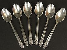 Six (6) Matching International Sterling Silver Teaspoons. Ontario 4H Homecoming Club. Good to Very Good Condition. Measures 6 Inches. Weighs 5.806 Troy Ounces Total. Shipping $30.00