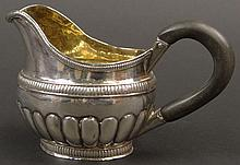 Early 19th Century Russian Sterling Silver Cream Pitcher with Wooden Handle and Gilt Washed Interior. Circa 1825. Signed Several Hallmarks Including: Aleksandr Ilyich Yashinkov Assay Master Mark, St. Petersburg City Mark, 84 Silver Standard Kokoshnik