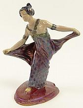 BACS, Golfe-Juan Art Deco Pottery Dancing Lady Figure with Luster Glaze. Signed Bacs to Base. Good Condition or Better. Measures 7-1/2 Inches Tall and 6 Inches Wide. Shipping $42.00