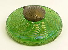 Art Nouveau Loetz Art Glass Bronze Mounted Inkwell. Inside of Bronze Mounting Signed. Glass Unsigned. Pontil Ground and Polished. Measures 2-1/8 Inches Tall and 5-1/8 Inches Diameter Across the Base. Shipping $40.00