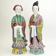 Pair of Large Chinese Republic Multicolored Enamel Porcelain Figures.