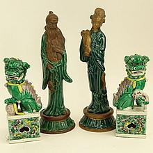 Two Pair of Vintage Chinese Figures. One pair green glazed terracotta Emperor and Empress.