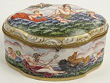 Vintage Capodimonte Hand Decorated Porcelain Hinged Box depicting Poseidon. Signed Blue N with Crown Mark. Light Wear and Rubbing or in Good Condition. Measures 5 Inches Tall, 9 Inches Length, 5-1/2 Inches Width. Shipping $65.00