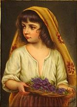 19/20th Century German Painted Porcelain Plaque, Girl with Scarf. Artist Signed Brodel Lower Right. Stamped Made in Germany en verso and titled Piccola nach Blaus. Good Condition or better. Measures 5-7/8 Inches Tall and 4-1/8 Inches Wide, Frame
