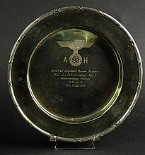 Circa 1942 Nazi Germany Nickle Silver Dish with Engraved Nazi Eagle and Swastika and Inscription