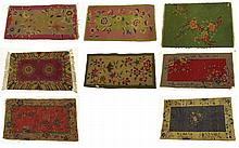 Lot of Eight (8) Small Art Deco Chinese Nichols Style Rugs. Unsigned. Various Colors. Wear, In Need of Cleaning, Losses. This Lot is being Sold