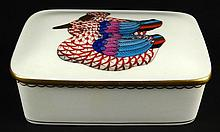 Vintage Herend Porcelain Mallard Duck Vanity Trinket Box. Rust Fishnet Ducks with Multicolor Wings and Tail. Very Good Condition. Measures 1-3/4 Inches Tall 5-1/2 Inches Long 3-3/4 Inches Wide. Signed Blue Herend Hungary Logo Hand painted First