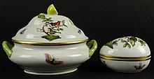 Two Vintage Herend Rothschild Birds Porcelain Vanity Trinket Boxes. First on e is an Egg Box with Birds and Butterflies Signed 6053/RD 193 107, Measures 2 Inches Tall 3 Inches Long 2-1/4 Inches Wide. Second is a Two Handled Tureen Shape with birds,