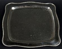 Sterling Silver Tray. Hammered, Gadrooned Rim. Signed 925. Measures 10 Inches Square and Weighs Approx. 10.48 Troy Ounces. Shipping $55.00