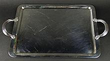 Christofle Silver Plate rectangular Tray With Handles. Signed Christofle France. Light Surface Scratches or in Good Condition. Measures 17 Inches By 12-1/4 Inches. Shipping $85.00