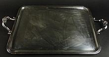 Christofle Silver Plate Rectangular Tray With handles. Signed Christofle France. Surface Scratches,