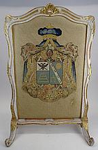 French Late 18th Century Louis XVI Carved, Painted and Parcel Gilt and Needlepoint Fire Screen. Unsigned. Wear and Rubbing, small area of Loss, Lower Right. Measures 37-1/2 Inches Tall, 24-1/4 Inches Width. We will not ship this item due to its size.
