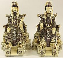 Pair of Chinese Carved and Veneered Walrus Ivory or Marine Ivory Seated Emperor and Empress Figures. Signed to Base. Good Condition or Better. Measure 16 Inches Tall and 10-1/4 Inches Wide. This item will only be shipped domestically and was legally