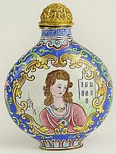 20th Century Chinese Hand Painted Snuff Bottle. Modeled after A Beijing Enamel