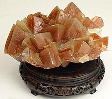 Vintage Quartz Crystal Geode on Stand. Chips and Wear. Measures 6 Inches Tall including Stand. Shipping $55.00