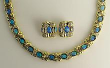 Lady's Vintage Heavy 18 Karat Yellow Gold, Opal and Diamond Necklace and Earring Suite. Signed CDL 18K. Very Good Condition. Necklace Measures Approx.. 18-1/2 Inches Long and 3/8 Inch Wide. Approx. Weight: 99.2 Pennyweights. Shipping $36.00