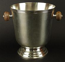 Christofle Silver Plate Ice Bucket. Wood Handles. Signed Christofle. Good Condition. Measures 9 Inches Tall, 8-1/2 Inches Diameter. Shipping $85.00