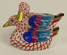 Herend Vintage Porcelain Duck Pair Waterfowl. Rust Fishnet with Gold Accent and Multicolor Wings and Tail. Very Good Condition. Signed in Blue Herend Hungary Hand painted 80 in Rust Under Glaze. Impressed Herend 5036. Measures 2-3/4 Inches Tall by