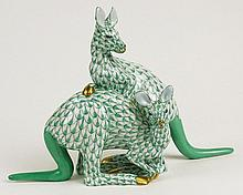 Herend Vintage Porcelain Kangaroo Pair Exotic Animals Green Fishnet with Gold Accent. Very Good Condition. Signed in Blue Herend Hungry Hand painted 15318/VHV, 15, 7 92 on one foot and 278 on other foot. Measures 5-1/2 Inches Tall 8-1/2 Inches Wide.
