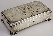 Vintage Poole Sterling Silver Footed Box. Wood Lined. Inscribed: S.F.A.A. Golf Tournament Palm Beach, FLA April 24-29, 1960 Longest Drive. Signed Sterling By Poole 78. Slight Edge Ding. Measures 1-3/4 Inches Tall, 6-1/4 Inches by 3-1/4 Inches. Weighs