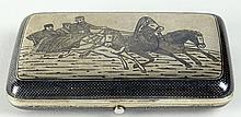 19/20th Century Pavel Ovchinnikov Russian 84 Silver Niello Cigarette Case. Signed 84, Assay Mark and Maker's Mark (Cyrillic). Good Condition with Normal Surface Wear and Monogram. Measures 4-1/4 Inches Long and 3-1/2 Inches Wide. Approx.