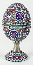 20th Century Russian Champlevé Enamel Silver Pedestal Egg Box. Signed 84 and Maker's Mark MP. Good Condition or Better. Measures 4 Inches Tall and 2 Inches Wide. Shipping $32.00
